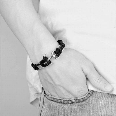 FREGATT – Fonott Fekete Bőr Acél Horgony Karkötő – Ezüst